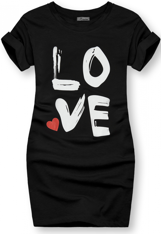 Tunika s potiskem LOVE černá