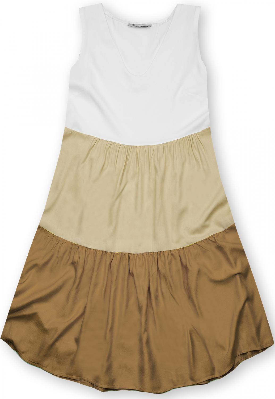 E-shop Letní šaty z viskózy bílá/béžová/hnědá