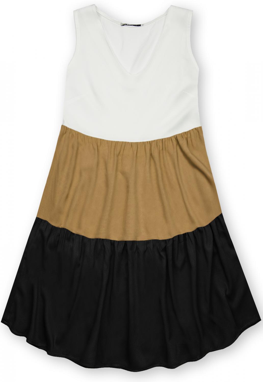 E-shop Letní šaty z viskózy bílá/hnědá/černá