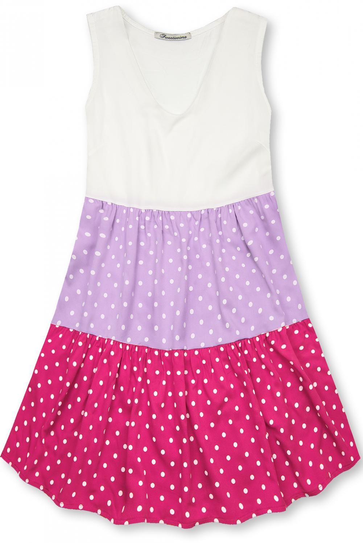 Tečkované šaty z viskózy bílá/lila/růžová. - příjemný, chladivý materiál - bez rukávů - bez kapes - v A-střihu - univerzální velikost by měla odpovídat velikosti S / M - materiál: 100% viskóza