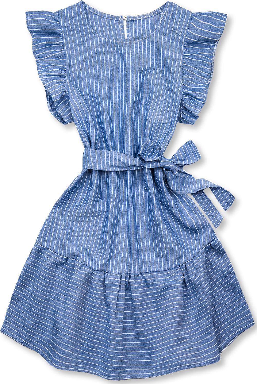 E-shop Modro-bílé pruhované šaty s volány