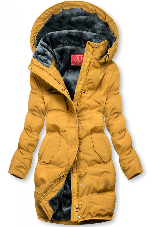 E-shop Žlutá zimní bunda s plyšovou podšívkou