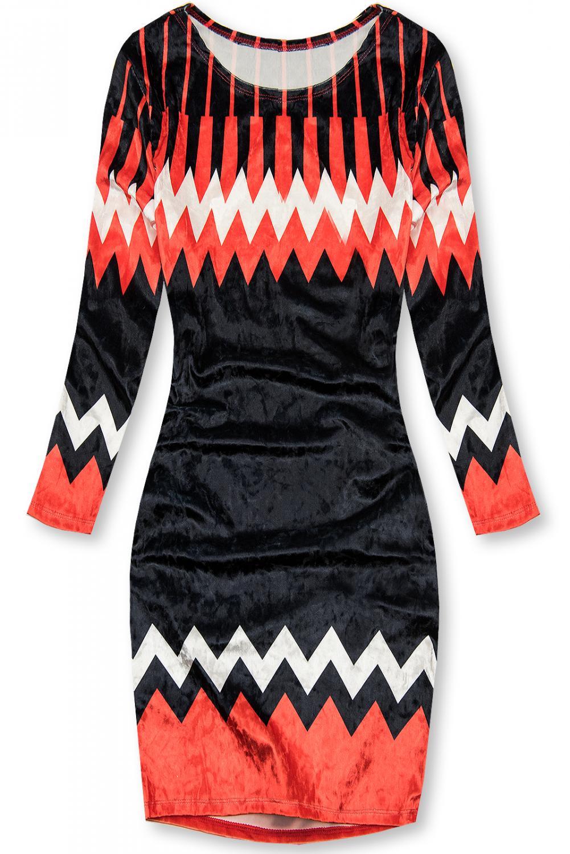 Červeno-modré sametové šaty. - přiléhavý střih - 3/4 rukáv - materiál imitující samet - univerzální velikost by měla odpovídat velikosti S-M - materiál: 95% polyester, 5% elastan
