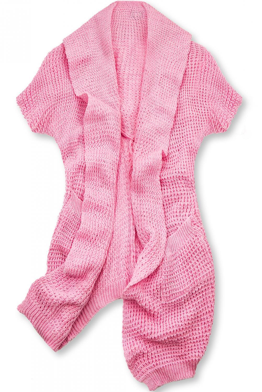 E-shop Růžový asymetrický pletený kardigan