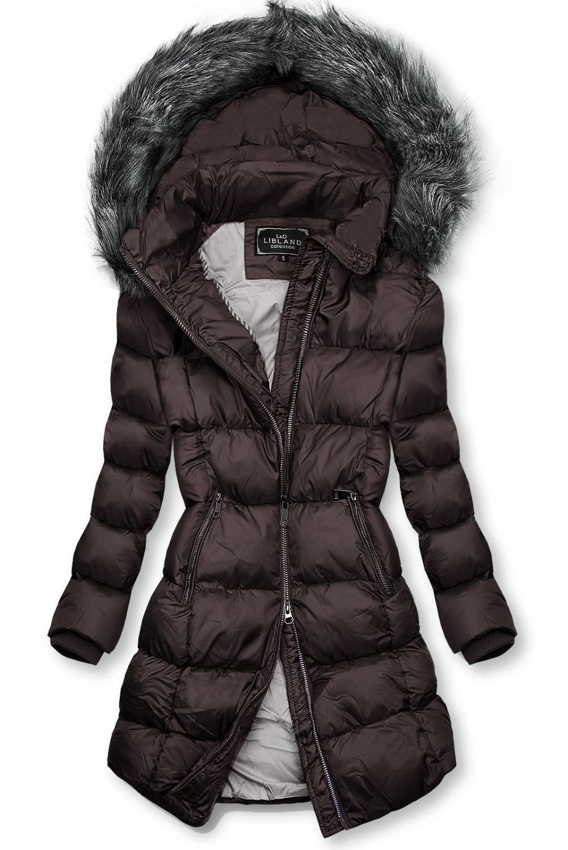 Fialová zimní bunda s kožešinou