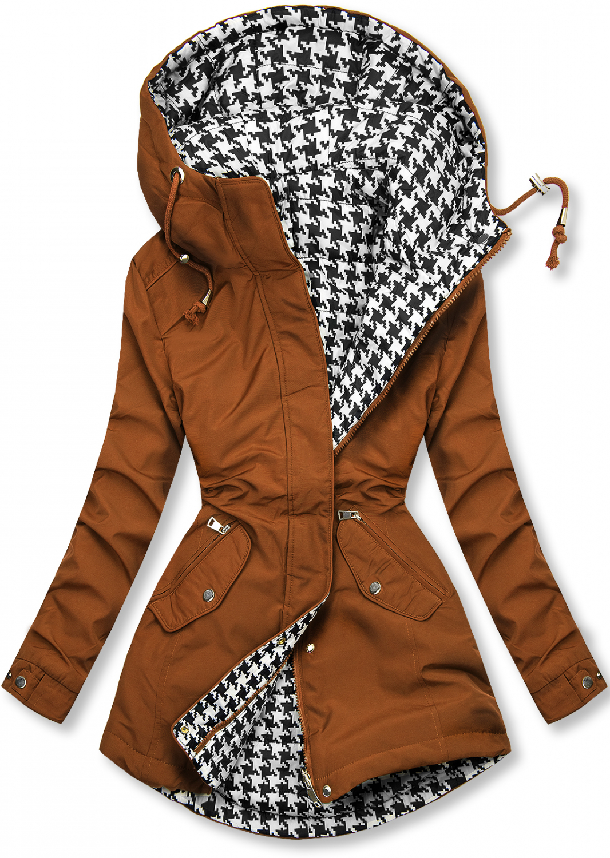 E-shop Hnědá oboustranná bunda s pepito vzorem