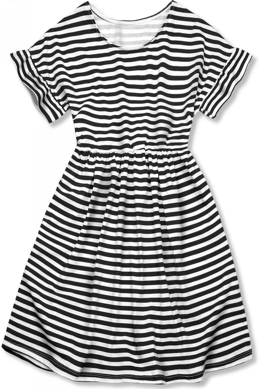 E-shop Černobílé volné pruhované šaty II.