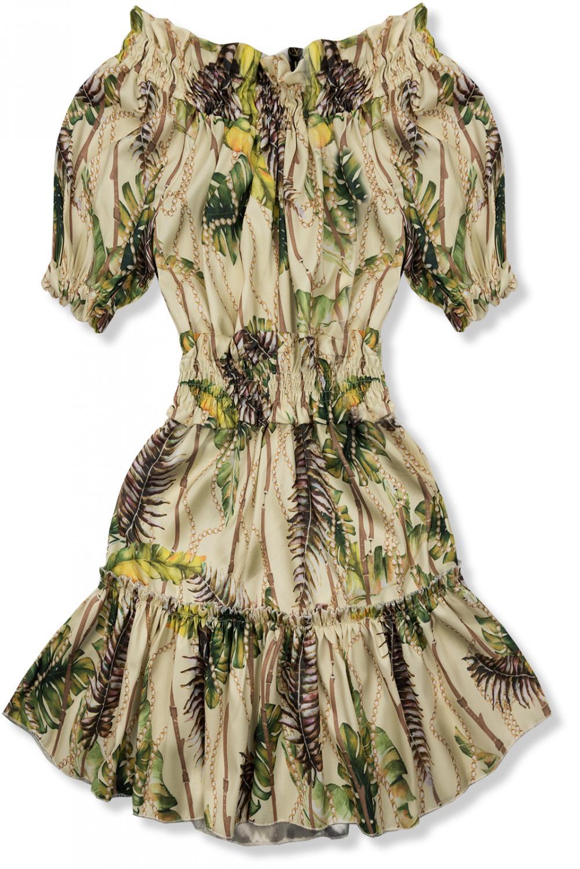 Béžovo-žluté šaty Serena/O'la Voga. - po celém obvodu v dekoltu pás s gumičkou - v pase na gumu - krátký rukáv ukončený gumičkou - sukně ukončená volánem - univerzální velikost by měla odpovídat velikosti S-M - materiál: 90% polyester, 10% viskóza