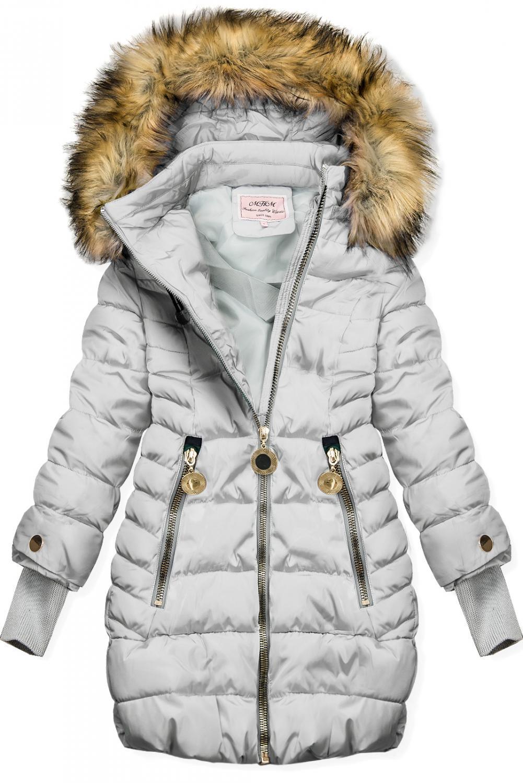 E-shop Šedá bunda s prodlouženými rukávy