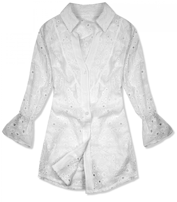 E-shop Bílá košile z děrovaného materiálu