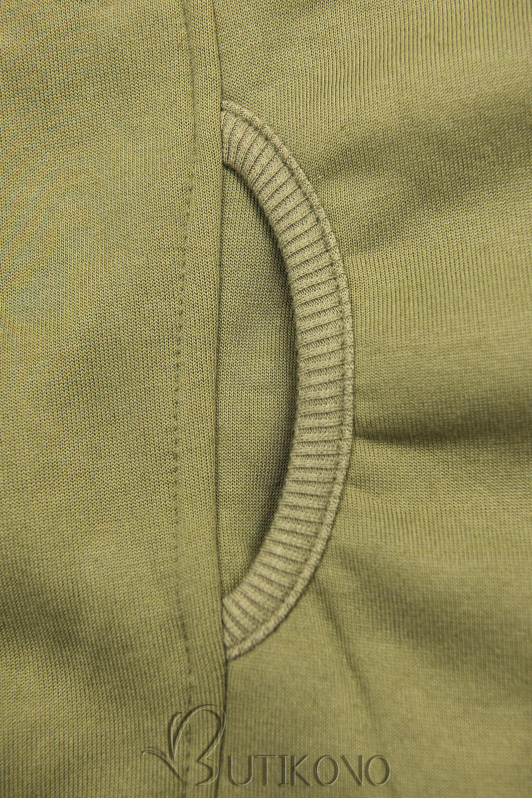 Khaki prodloužená mikina na zip