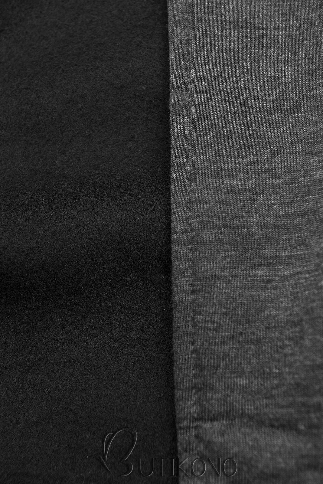 Grafitová prodloužená mikina na zip