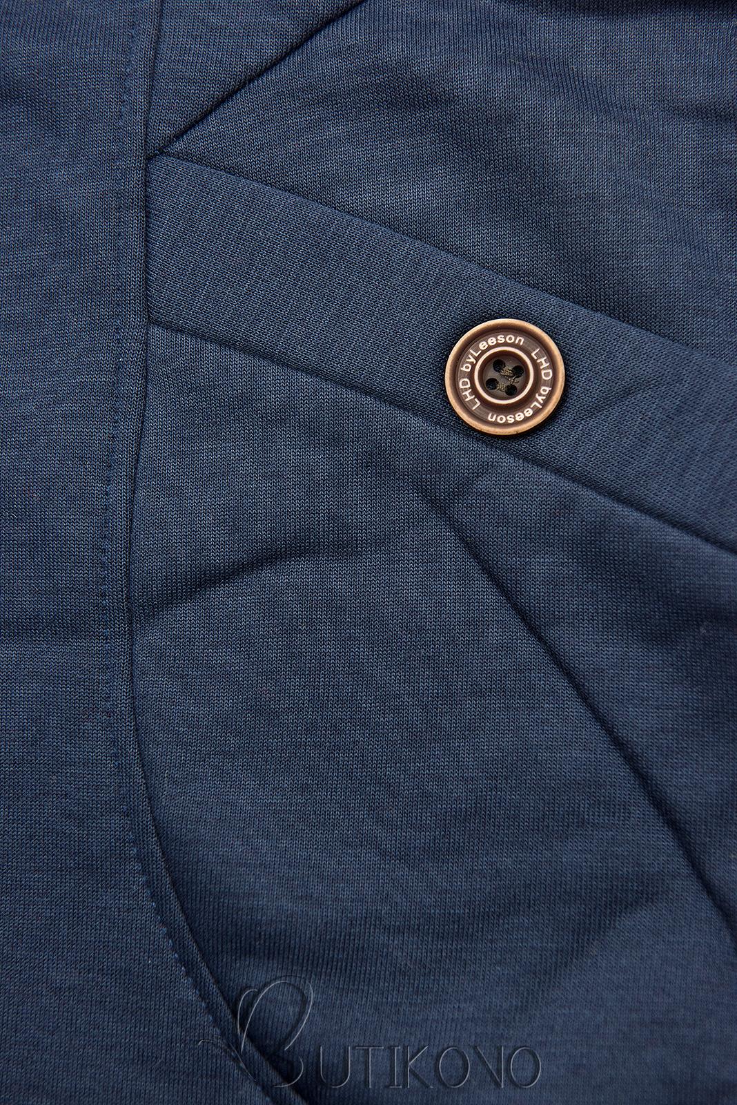Tmavě modrá mikina se vzorovanou kapucí