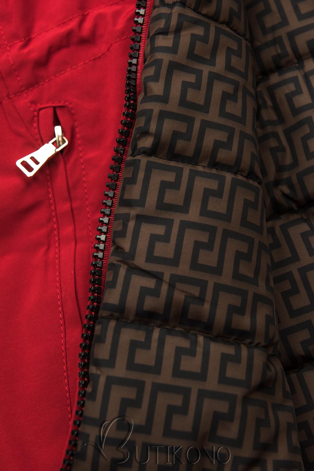 Červená prošívaná oboustranná bunda