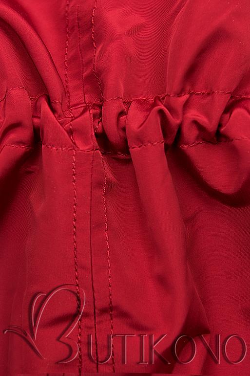 Červená/modrá basic jarní parka s kapucí