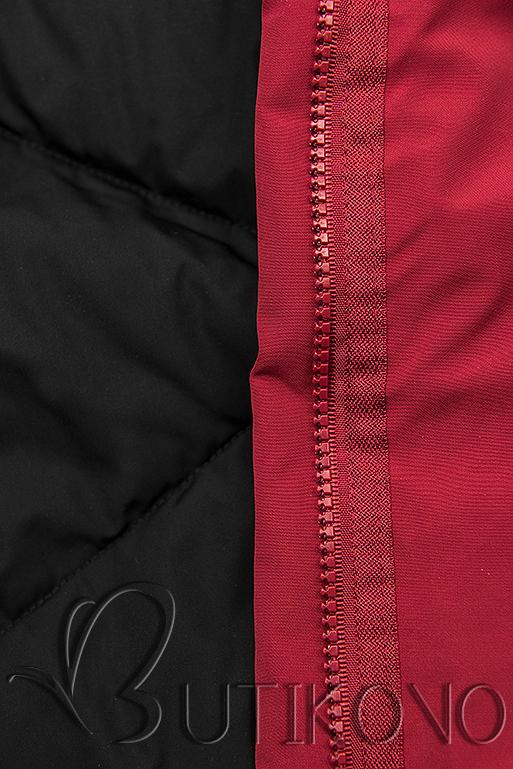 Prodloužená oboustranná parka červená/černá