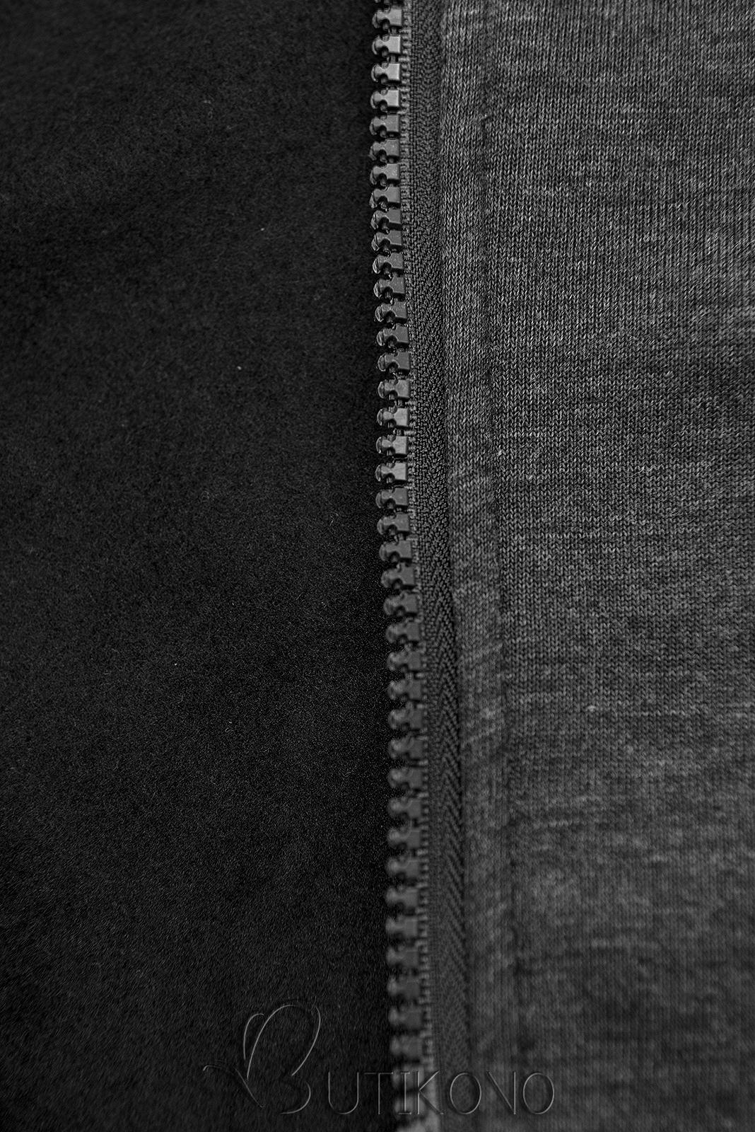 Grafitová mikina s dvoucestným zipem