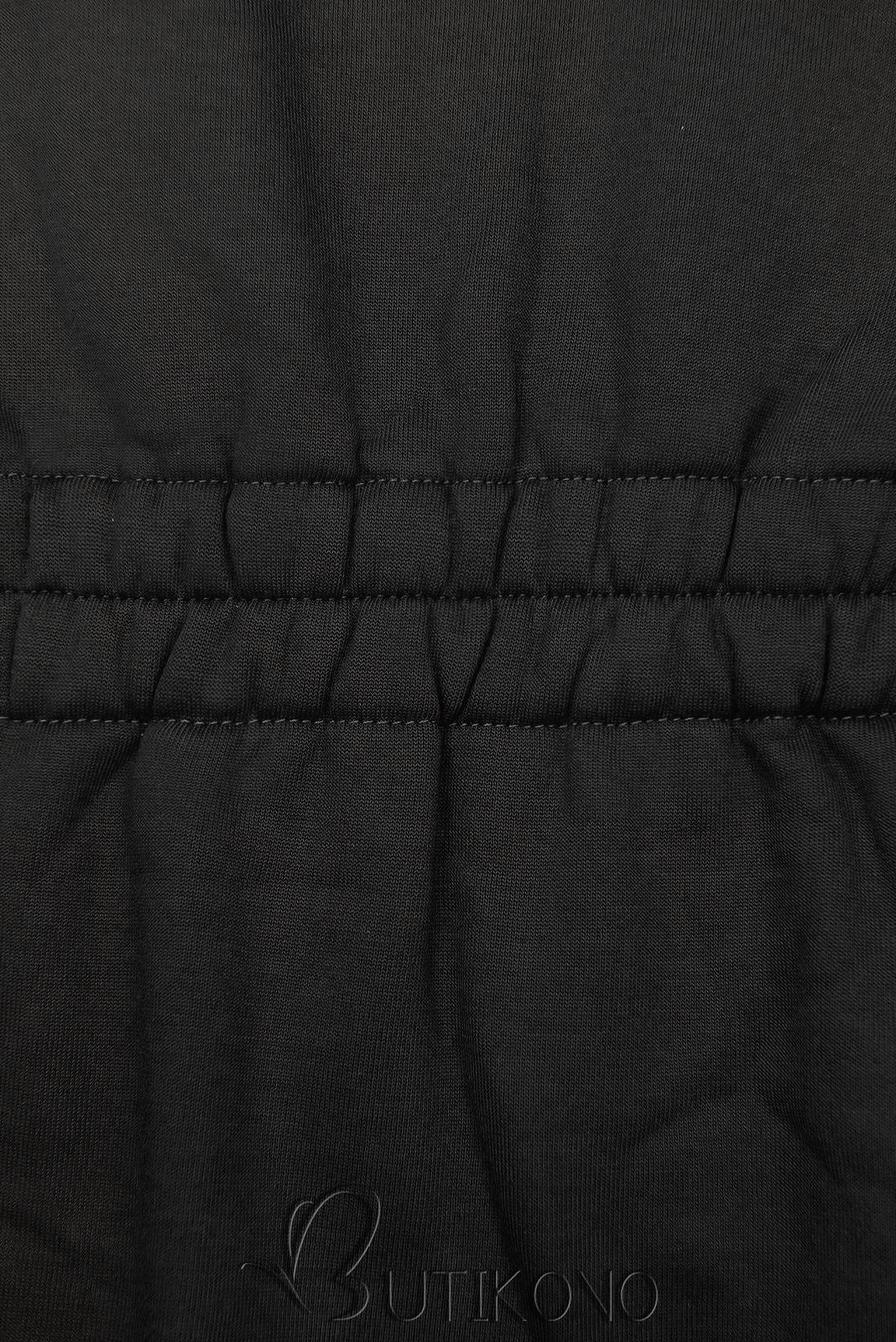 Černá mikina s tvarovaným pasem