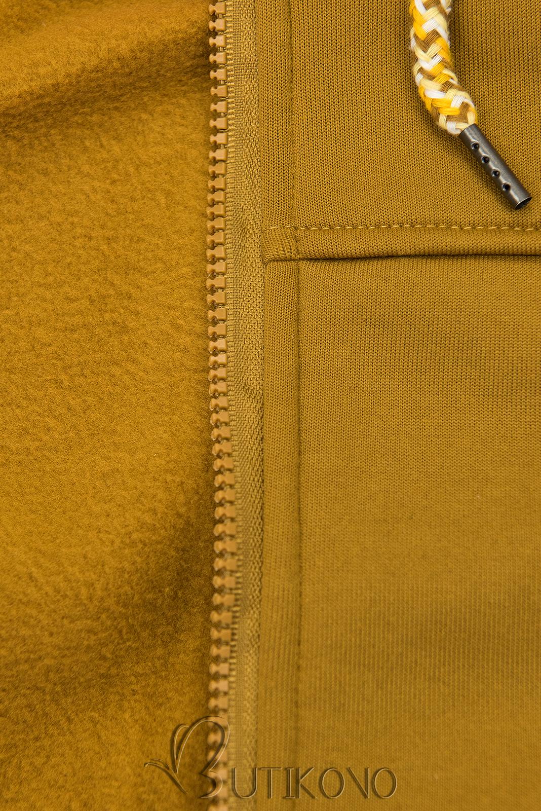 Mustard mikina s tvarovaným pasem