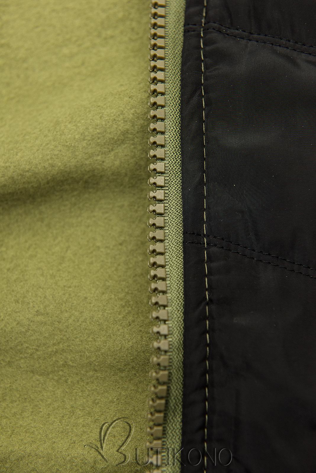 Khaki mikina s kombinovanými materiály