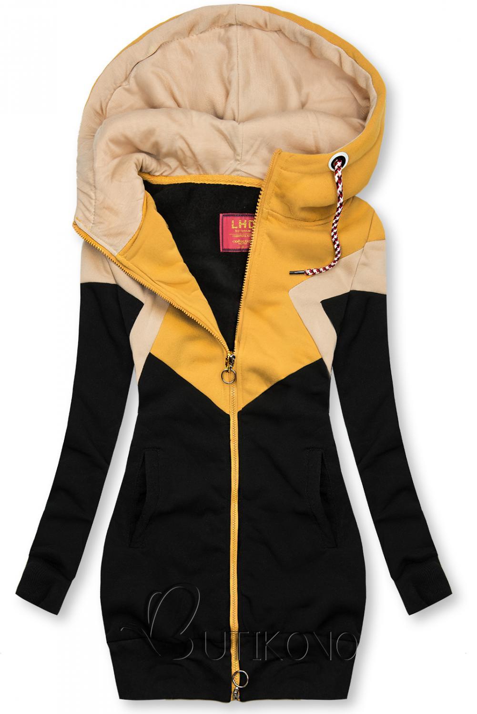 Prodloužená mikina černá/žlutá/béžová