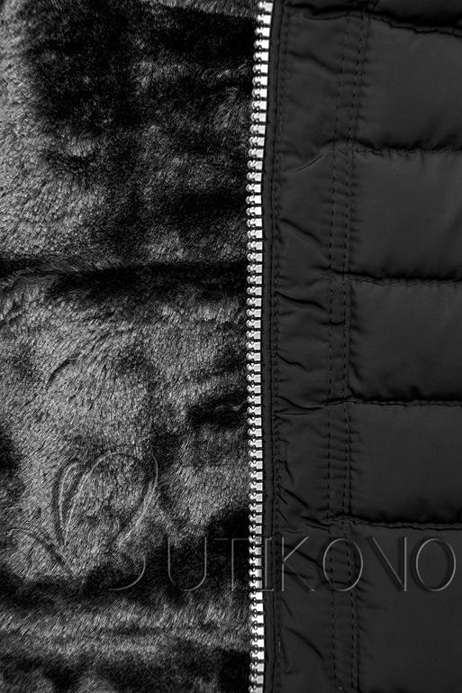 Zimní prošívaná bunda s kapucí černá
