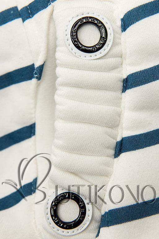 Pruhovaná mikina bílá/modrá