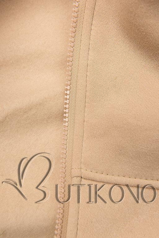 Prodloužená mikina s kapucí béžová/khaki