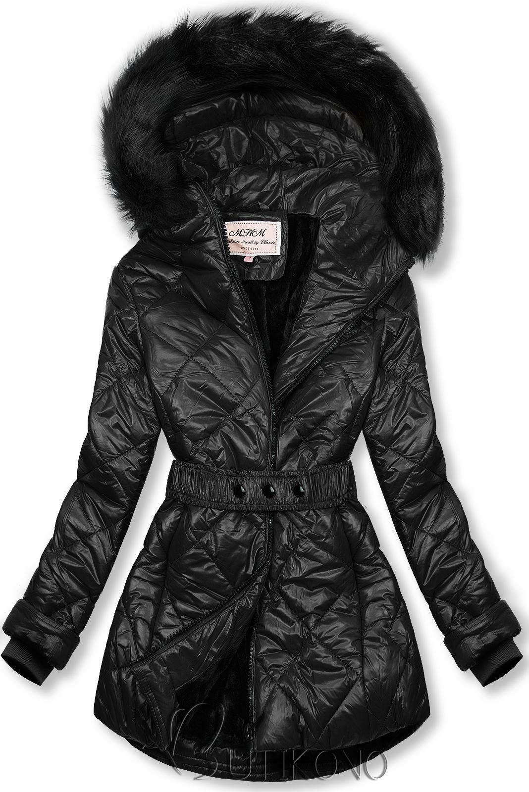 Černá lesklá zimní bunda s páskem