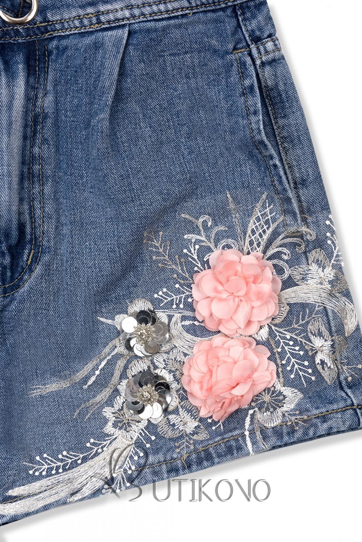 Denimové šortky s květinovou nášivkou