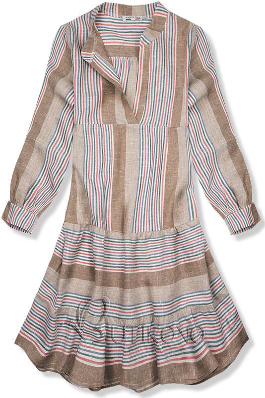 Hnědé pruhované lněné šaty