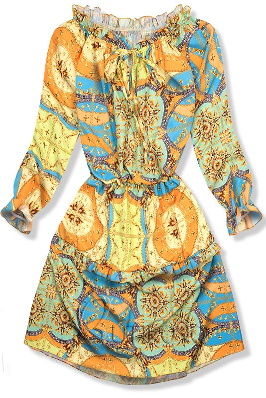 Modro-žluté vzorované šaty