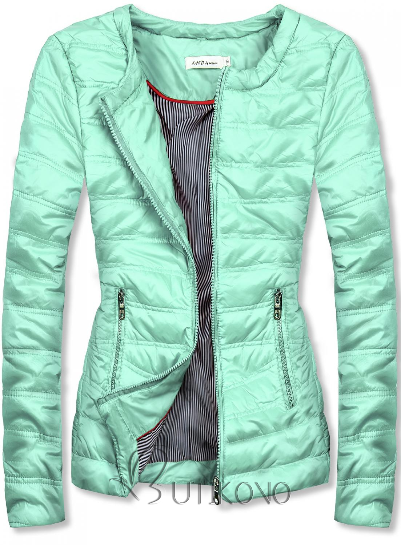 Mátovo-zelená krátká prošívaná bunda