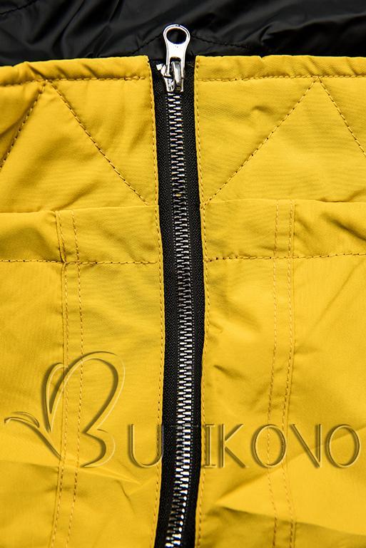 Oboustranná jarní parka žlutá/černá