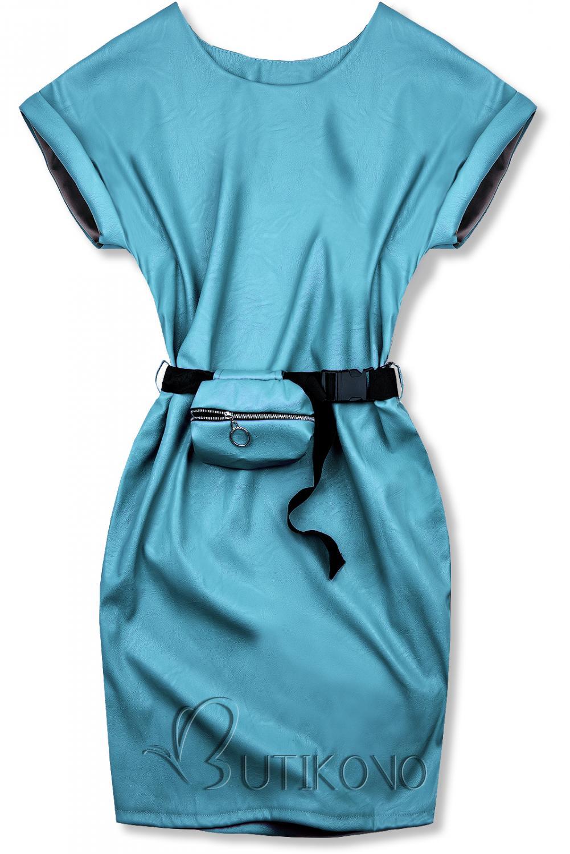 Modré koženkové šaty