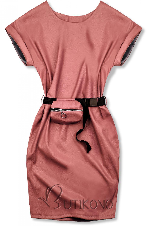Tmavě růžové koženkové šaty