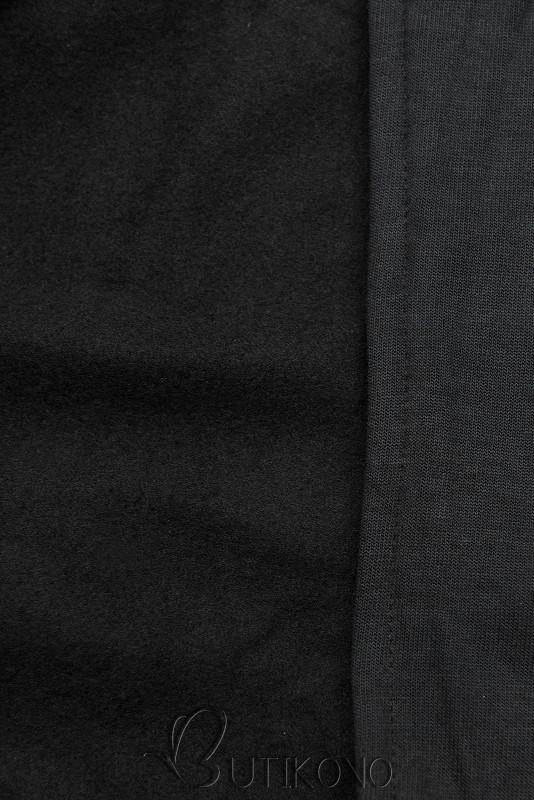 Černá prodloužená mikina na zip