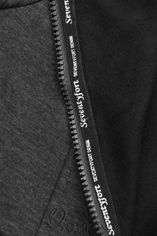 Grafitová mikina se vzorovanou kapucí