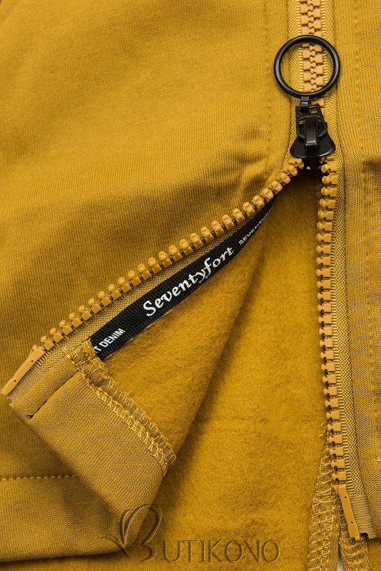 Mustard mikina se vzorovanou kapucí