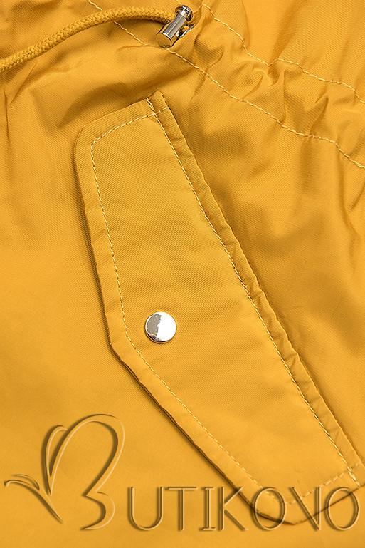 Žlutá/modrá basic jarní parka s kapucí