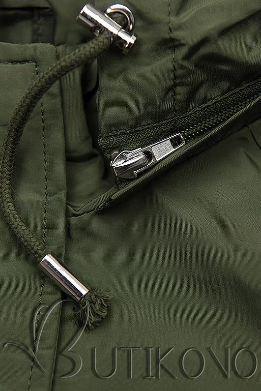 Khaki basic jarní parka s kapucí