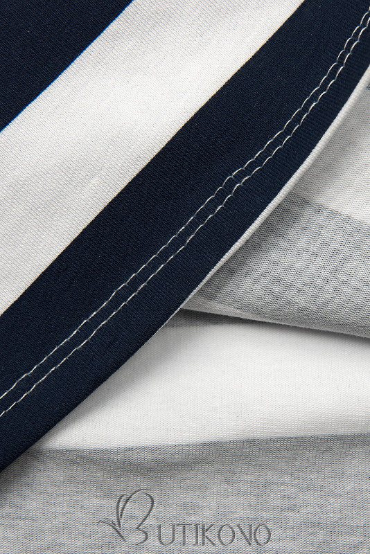Modro-bílé pruhované šaty XX.