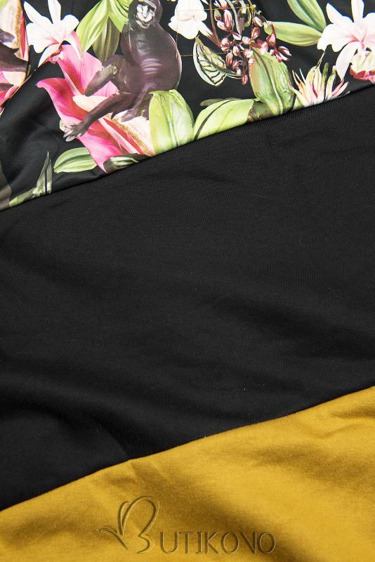 Mustard/černá květinová mikina