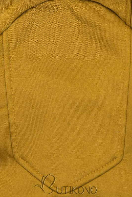 Mustard mikina s dvoucestným zipem