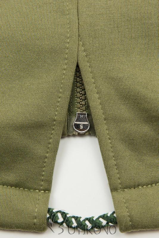 Khaki mikina s dvoucestným zipem