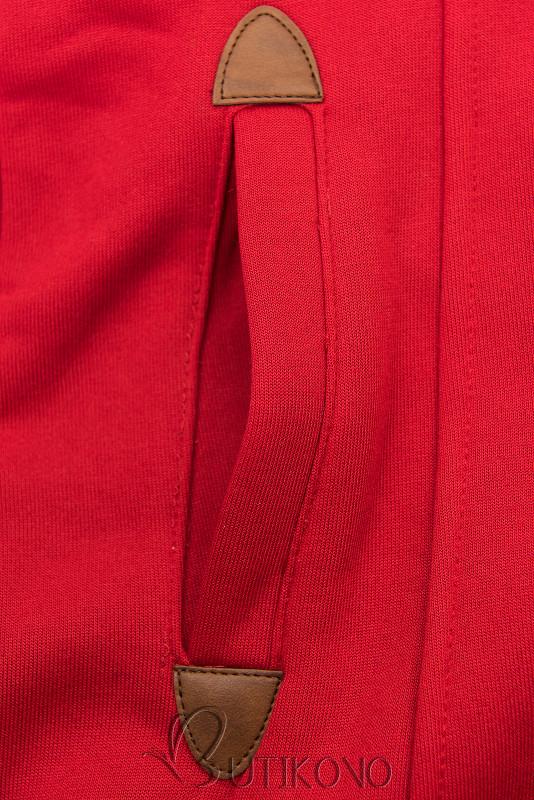 Červená mikina s tvarovaným pasem