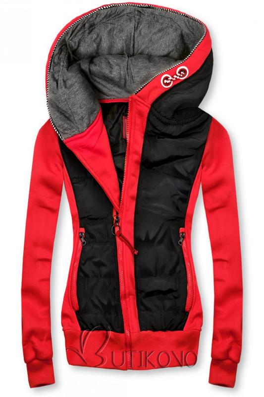 Červeno/černá krátká kombinovaná mikina