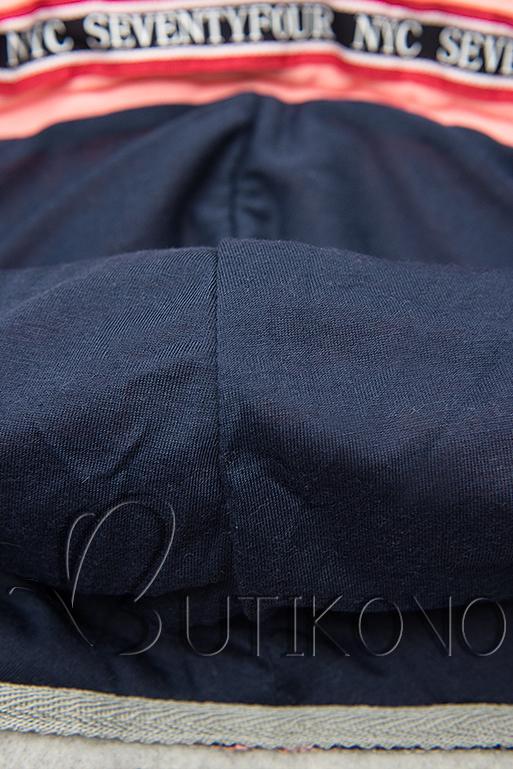 Prodloužená mikina s kapucí šedá/modrá
