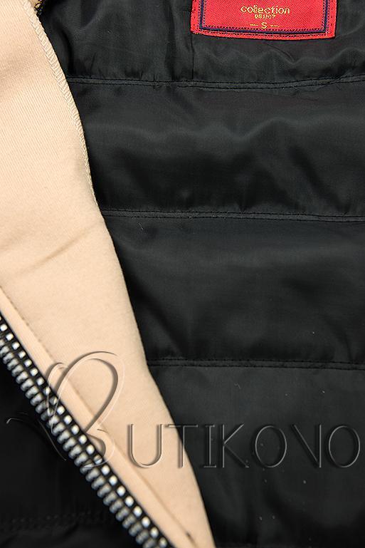 Černo-béžová kombinovaná sportovní mikina