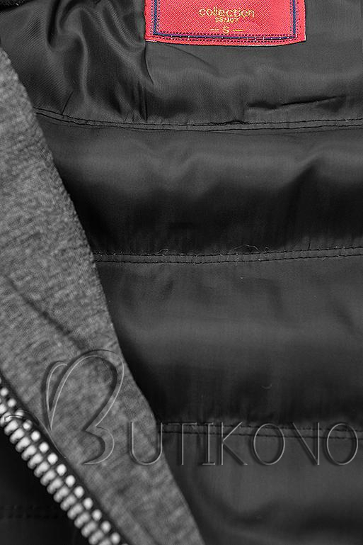 Černo-grafitová kombinovaná sportovní mikina